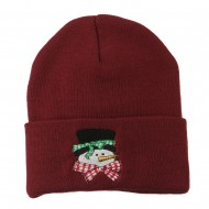 Snowman's Head with Scarf Embroidered Beanie - Maroon