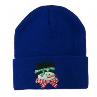 Snowman's Head with Scarf Embroidered Beanie - Royal