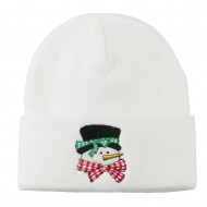 Snowman's Head with Scarf Embroidered Beanie - White