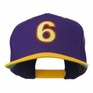 Arial Number 6 Embroidered Classic Two Tone Cap - Purple Gold