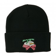 Snowman's Head with Scarf Embroidered Beanie - Black