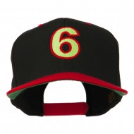Arial Number 6 Embroidered Classic Two Tone Cap - Black Red