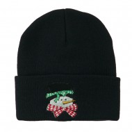 Snowman's Head with Scarf Embroidered Beanie - Navy