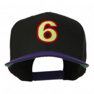 Arial Number 6 Embroidered Classic Two Tone Cap - Black Purple
