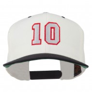 Number 10 Embroidered Classic Two Tone Snapback Cap - Natural Black