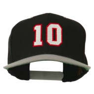 Number 10 Embroidered Classic Two Tone Snapback Cap - Black Silver