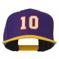 Number 10 Embroidered Classic Two Tone Snapback Cap - Purple Gold