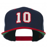Number 10 Embroidered Classic Two Tone Snapback Cap - Navy Red