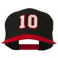Number 10 Embroidered Classic Two Tone Snapback Cap - Black Red