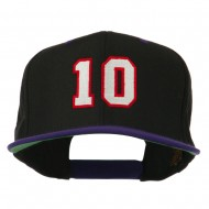 Number 10 Embroidered Classic Two Tone Snapback Cap - Black Purple