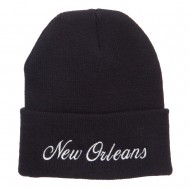 City of New Orleans Embroidered Long Beanie - Black