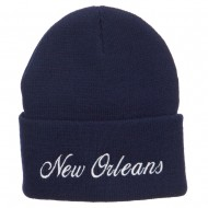 City of New Orleans Embroidered Long Beanie - Navy