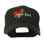 USA State Flower New York Rose Embroidery Cap - Black