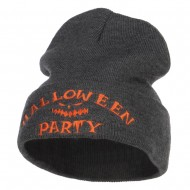 Halloween Party Embroidered Long Beanie - Dk Grey