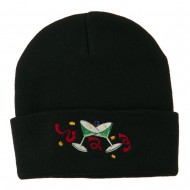 Glasses New Years Embroidered Beanie - Black