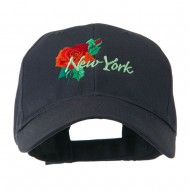 USA State Flower New York Rose Embroidery Cap - Navy