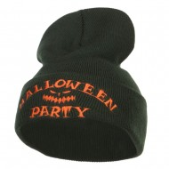 Halloween Party Embroidered Long Beanie - Olive