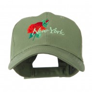 USA State Flower New York Rose Embroidery Cap - Olive