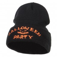 Halloween Party Embroidered Long Beanie - Black