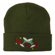 Glasses New Years Embroidered Beanie - Olive