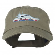 Nautical Yacht Embroidered Pet Spun Washed Cap - Olive