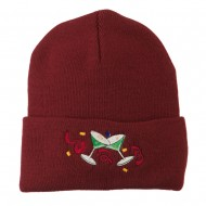 Glasses New Years Embroidered Beanie - Maroon