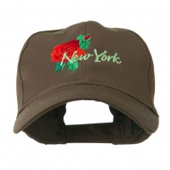 USA State Flower New York Rose Embroidery Cap - Brown