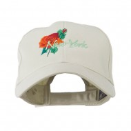 USA State Flower New York Rose Embroidery Cap - Stone
