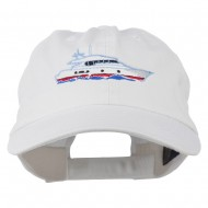 Nautical Yacht Embroidered Pet Spun Washed Cap - White