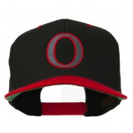 Greek Alphabet OMICRON Embroidered Cap - Black Red