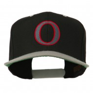 Greek Alphabet OMICRON Embroidered Cap - Black Silver