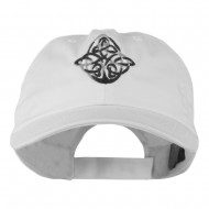 Oval Celtic Embroidered Cap - White