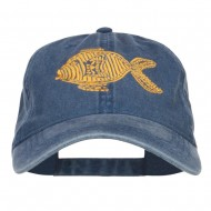 Golden Fish Embroidered Washed Cap - Navy