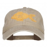 Golden Fish Embroidered Washed Cap - Khaki