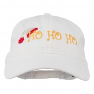 Christmas Hat Ho Ho Ho Embroidered Washed Dyed Cap - White