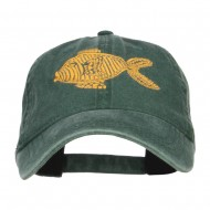 Golden Fish Embroidered Washed Cap - Dk Green