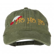 Christmas Hat Ho Ho Ho Embroidered Washed Dyed Cap - Olive Green