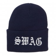 Old English Swag Embroidered Long Beanie - Navy