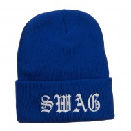 Old English Swag Embroidered Long Beanie - Royal
