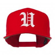Old English U Embroidered Flat Bill Cap - Red