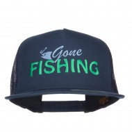 Gone Fishing Embroidered Snapback Mesh Cap - Navy