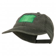 Oregon State Map Embroidered Washed Cotton Cap - Black