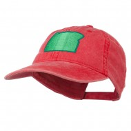 Oregon State Map Embroidered Washed Cotton Cap - Red