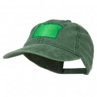 Oregon State Map Embroidered Washed Cotton Cap - Dark Green