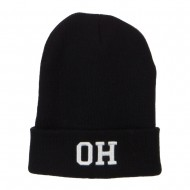 OH Ohio State Embroidered Long Beanie - Black