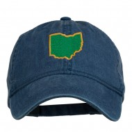 Ohio State Map Embroidered Washed Cotton Cap - Navy