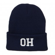 OH Ohio State Embroidered Long Beanie - Navy