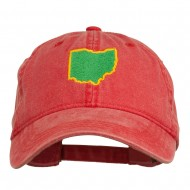 Ohio State Map Embroidered Washed Cotton Cap - Red