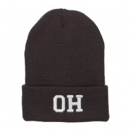 OH Ohio State Embroidered Long Beanie - Dk Grey