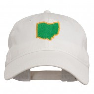 Ohio State Map Embroidered Washed Cotton Cap - White